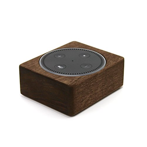 Echo Dot Wood Stand, Solid Wood Holder, Rustic Hardwood Stand for Alexa, Handmade in USA, Decorative Protective Case Made from Alder Wood Espresso Color