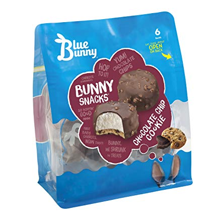 Blue Bunny, Bunny Snacks Chocolate Chip Cookie Ice Cream, 6 Ct (frozen)