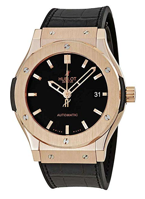 Hublot Classic Fusion 18kt Gold Black Dial Mens Watch 511.OX.1180.LR